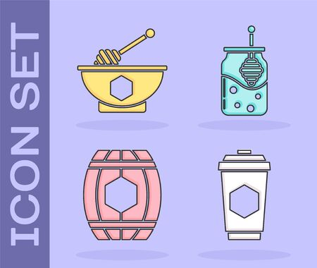 Set Cup of tea with honey, Honey dipper stick and bowl, Wooden barrel with honey and Jar of honey icon. Vector Stock fotó - 137869801