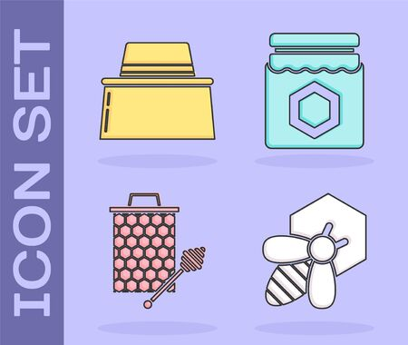 Set Bee and honeycomb, Beekeeper with protect hat, Honeycomb with honey dipper stick icon and Jar of honey icon. Vector Stock fotó - 137869805