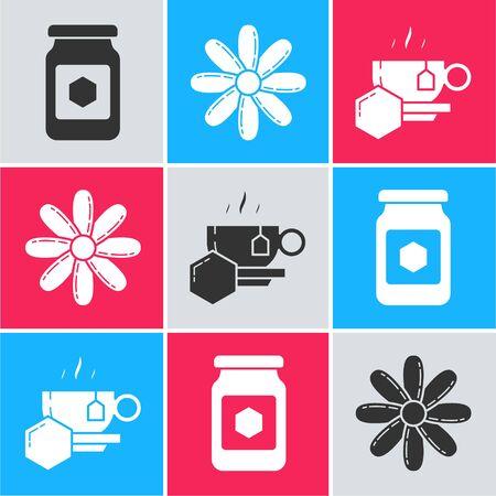 Set Jar of honey, Flower and Cup of tea with honey icon. Vector Illusztráció