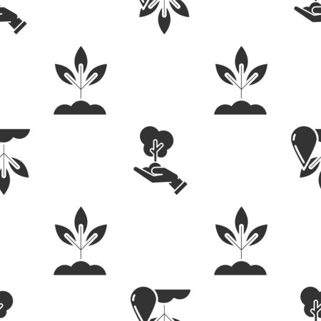 Establecer planta de riego, árbol en mano de protección del medio ambiente y planta en patrón sin costuras Vector Ilustración de vector