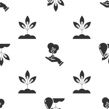 Stellen Sie Bewässerungsanlage, Baum in der Hand des Umweltschutzes und Pflanze auf nahtloses Muster ein. Vektor Vektorgrafik