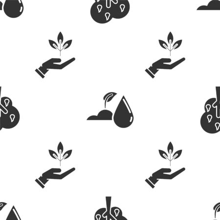 Set Tree with pears, Watering sprout and Plant in hand of environmental protection on seamless pattern. Vector Ilustração