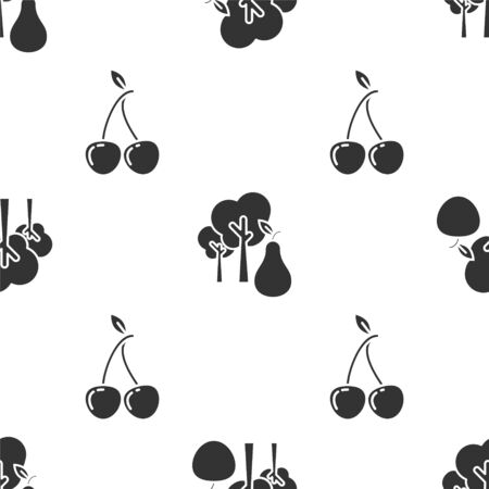 Set Tree with apple, Tree with pears and Cherry on seamless pattern. Vector