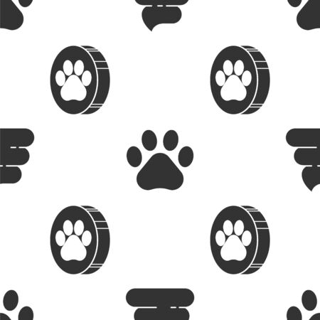 Set Shit, Paw print and Paw print on seamless pattern. Vector