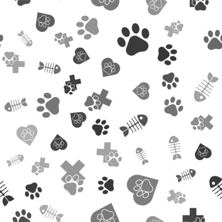 Set Paw print, Heart with animals footprint, Fish skeleton and Veterinary clinic symbol on seamless pattern. Vector Illusztráció
