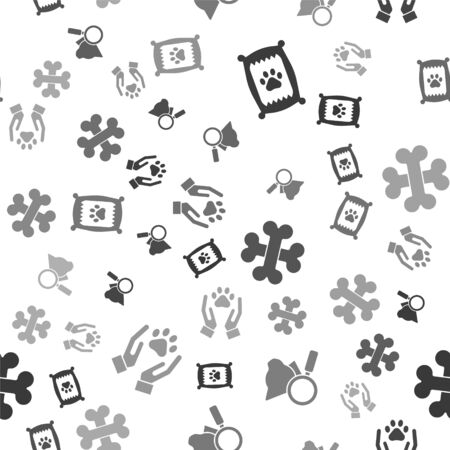Set Bag of food for dog, Veterinary clinic symbol, Crossed bones and Hands with animals footprint on seamless pattern. Vector