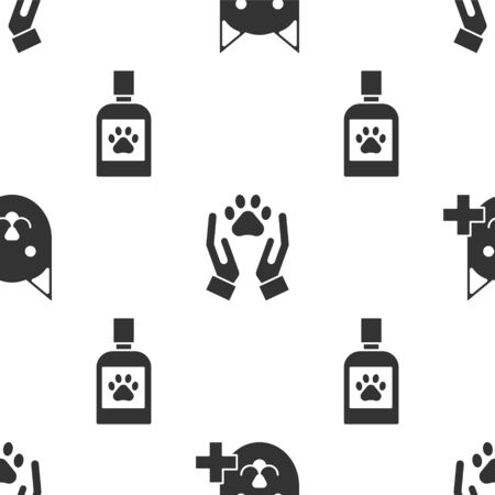 Set Veterinary clinic symbol, Hands with animals footprint and Dog medicine bottle on seamless pattern. Vector