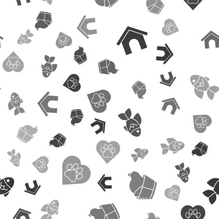 Set Dog house, Veterinary clinic symbol, Fish and Heart with animals footprint on seamless pattern. Vector