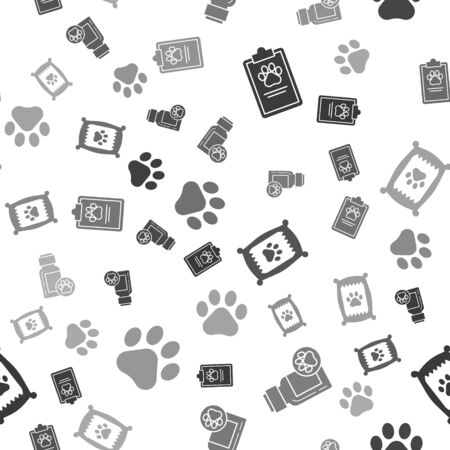 Set Clipboard with medical clinical record pet, Dog medicine bottle, Bag of food for dog and Paw print on seamless pattern. Vector