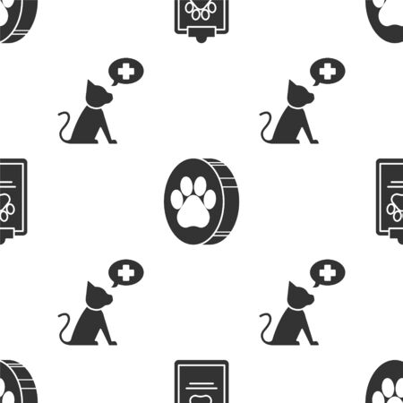 Set Clipboard with medical clinical record pet, Paw print and Veterinary clinic symbol on seamless pattern. Vector