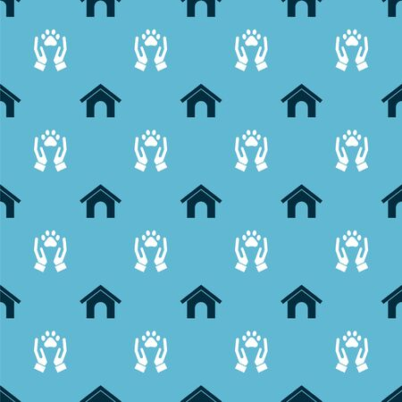 Set Dog house and Hands with animals footprint on seamless pattern. Vector