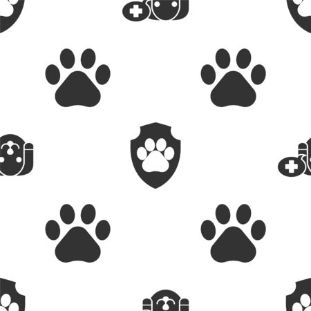 Set Veterinary clinic symbol, Animal health insurance and Paw print on seamless pattern. Vector