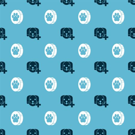 Set Veterinary clinic symbol and Paw print on seamless pattern. Vector