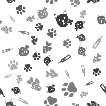 Set Veterinary clinic symbol, Paw print, Medical digital thermometer and Fish on seamless pattern. Vector
