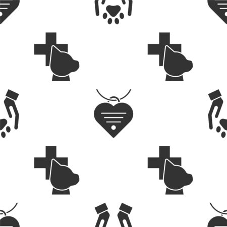 Set Hands with animals footprint, Collar with name tag and heart and Veterinary clinic symbol on seamless pattern. Vector