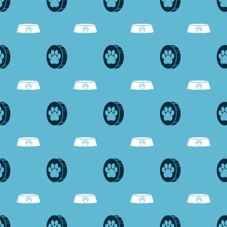 Set Paw print and Pet food bowl for cat or dog on seamless pattern. Vector Illusztráció