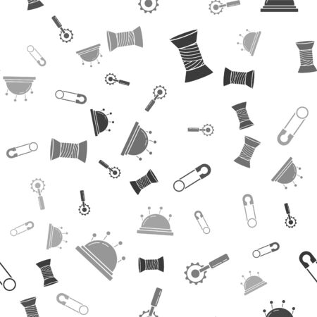 Set Sewing thread on spool, Cutter tool, Classic closed steel safety pin and Needle bed and needles on seamless pattern. Vector