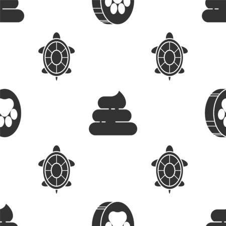 Set Paw print, Shit and Turtle on seamless pattern. Vector