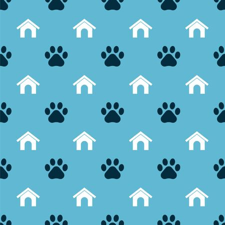 Set Paw print and Dog house on seamless pattern. Vector