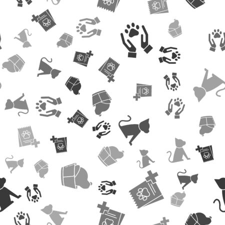 Set Hands with animals footprint, Bag of food for dog, Cat and Veterinary clinic symbol on seamless pattern. Vector