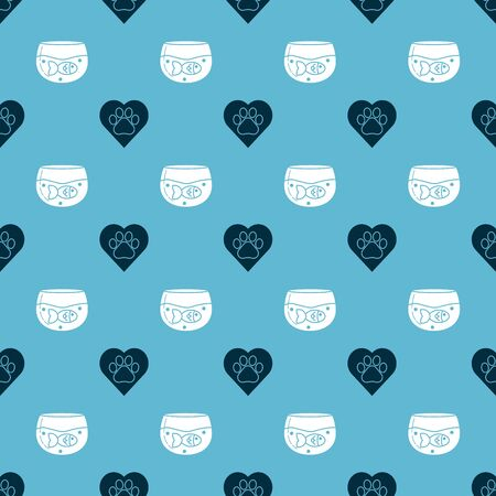 Set Heart with animals footprint and Aquarium with fish on seamless pattern. Vector