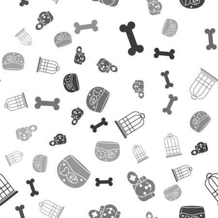 Set Dog bone, Veterinary clinic symbol, Cage for birds and Aquarium with fish on seamless pattern. Vector
