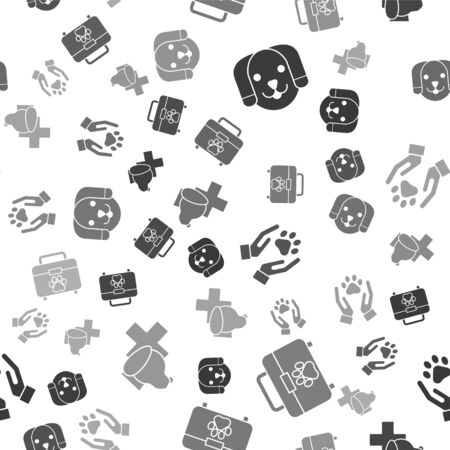 Set Dog, Pet first aid kit, Hands with animals footprint and Veterinary clinic symbol on seamless pattern. Vector