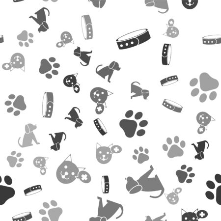 Set Collar with name tag, Dog, Paw print and Veterinary clinic symbol on seamless pattern. Vector