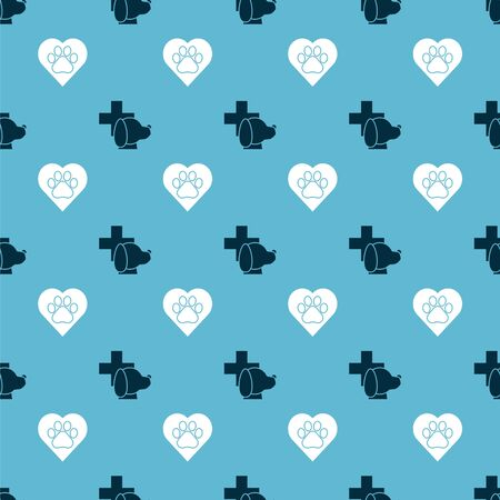 Set Veterinary clinic symbol and Heart with animals footprint on seamless pattern. Vector