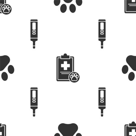 Set Paw print, Clipboard with medical clinical record pet and Medical digital thermometer on seamless pattern. Vector