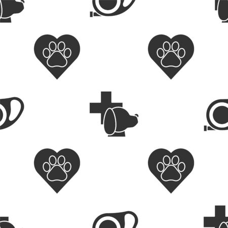Set Retractable cord leash with carabiner, Veterinary clinic symbol and Heart with animals footprint on seamless pattern. Vector
