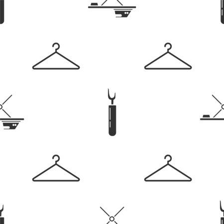 Stellen Sie elektrisches Bügeleisen und Bügelbrett, Cutter-Werkzeug und Kleiderbügelgarderobe auf nahtloses Muster ein. Vektor Vektorgrafik