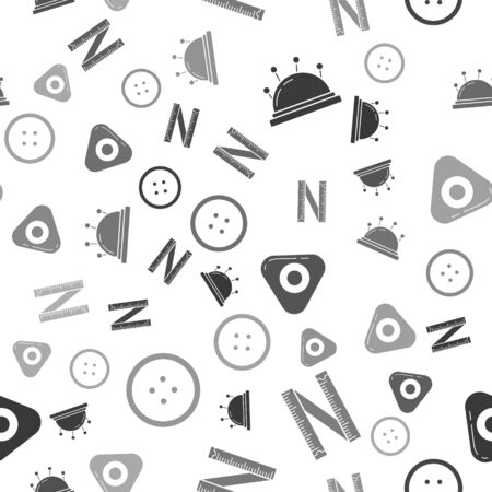 Set Needle bed and needles, Tape measure, Sewing chalk and Sewing button for clothes on seamless pattern. Vector  イラスト・ベクター素材