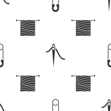 Set Classic closed steel safety pin, Needle for sewing with thread and Knitting on seamless pattern. Vector