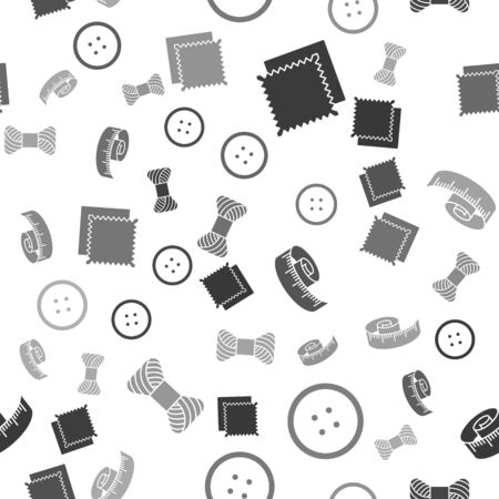 Set Textile fabric roll, Sewing button for clothes, Tape measure and Sewing thread on spool on seamless pattern. Vector