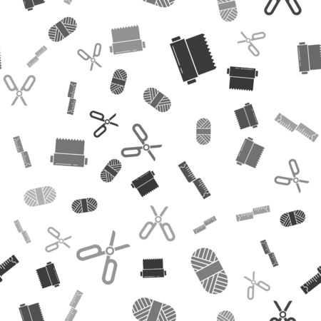 Set Textile fabric roll, Sewing thread on spool, Tape measure and Scissors on seamless pattern. Vector  イラスト・ベクター素材