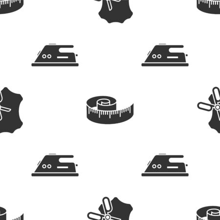 Set Scissors and leather, Tape measure and Electric iron on seamless pattern. Vector