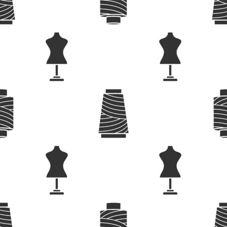 Set Sewing thread on spool, Sewing thread on spool and Mannequin on seamless pattern. Vector