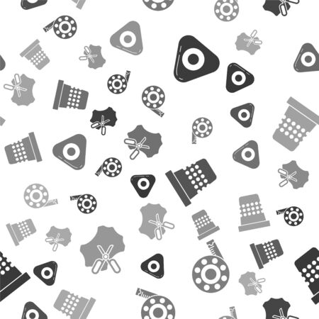 Set Sewing chalk, Tape measure, Thimble for sewing and Scissors and leather on seamless pattern. Vector  イラスト・ベクター素材