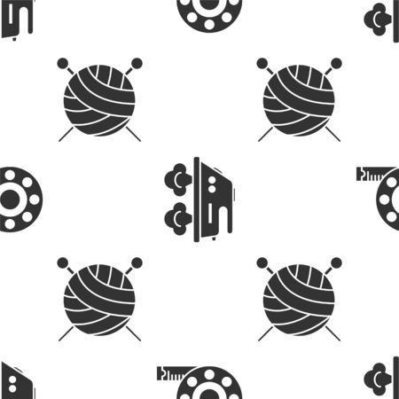 Set Tape measure, Electric iron and Yarn ball with knitting needles on seamless pattern. Vector  イラスト・ベクター素材