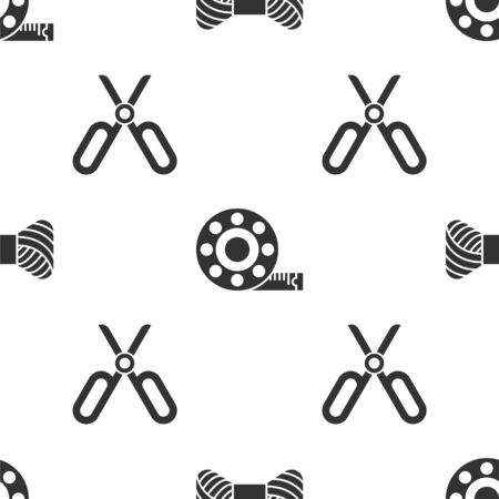 Set Sewing thread on spool, Tape measure and Scissors on seamless pattern. Vector  イラスト・ベクター素材