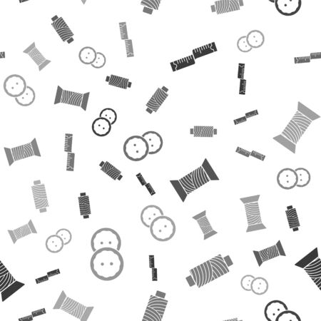 Set Tape measure, Sewing thread on spool, Sewing thread on spool and Sewing button for clothes on seamless pattern. Vector  イラスト・ベクター素材