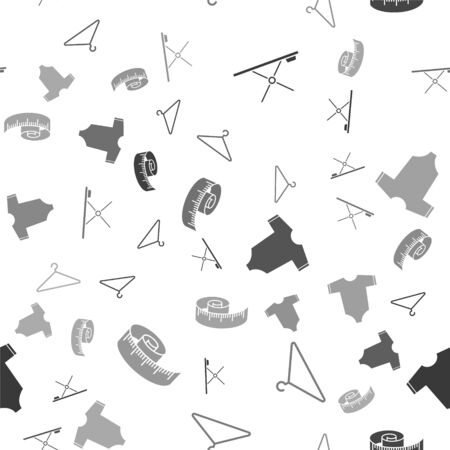Set Ironing board, Hanger wardrobe, Baby clothes and Tape measure on seamless pattern. Vector