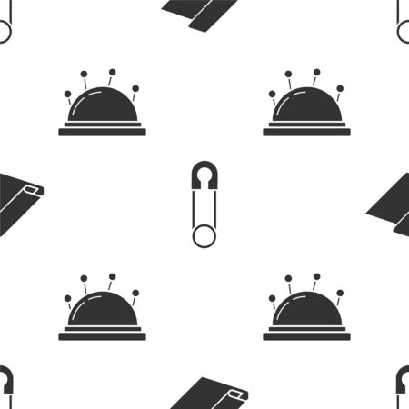 Set Textile fabric roll, Classic closed steel safety pin and Needle bed and needles on seamless pattern. Vector