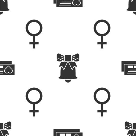 Set Ticket with heart, Ringing bell and Female gender symbol on seamless pattern. Vector  イラスト・ベクター素材