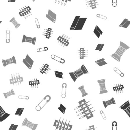 Set Textile fabric roll, Needle for sewing, Sewing thread on spool and Classic closed steel safety pin on seamless pattern. Vector
