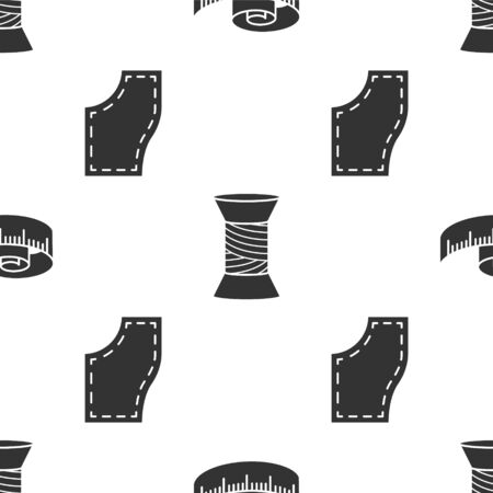 Set Tape measure, Sewing thread on spool and Sewing Pattern on seamless pattern. Vector