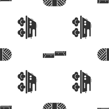 Set Sewing thread on spool, Tape measure and Electric iron on seamless pattern. Vector  イラスト・ベクター素材