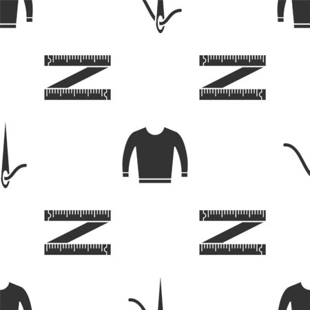 Set Needle for sewing with thread, Sweater and Tape measure on seamless pattern. Vector