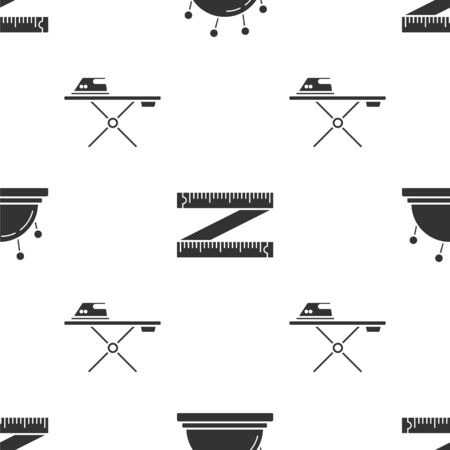 Set Needle bed and needles, Tape measure and Electric iron and ironing board on seamless pattern. Vector
